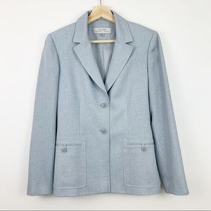 Tahari Light Blue Blazer 4 Double Breasted Twill